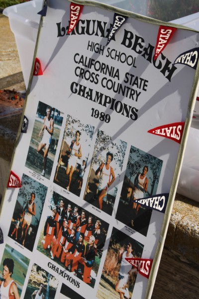 A 1989 poster marking student Dave Brobeck's contribution to a winning LBHS cross-country team.