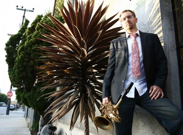 Baritone sax player Adam Schroder performs in the Laguna Beach Live summer jazz finale