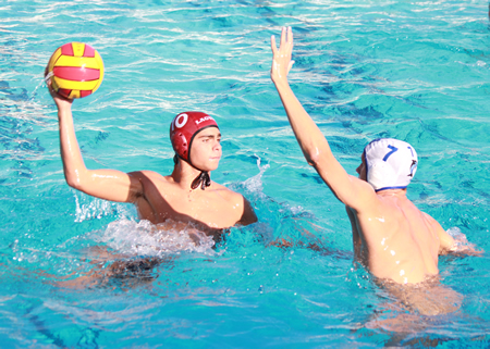 Sebastian Jacobs scored two goals in the Breakers 13-12 home win over Dana Hills on Thursday, Oct. 9. Credit: Robert Campbell