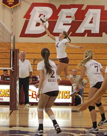 Aspen Roche had eight kills and three service aces during Laguna's 3-1 win over Calvary Chapel at Dugger Gym on Monday, Oct. 13. Credit: Robert Campbell