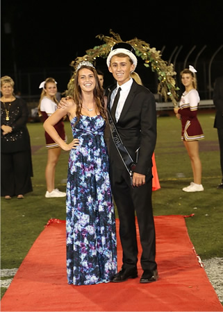 Homecoming royalty Brenna Merchant and Dominic Droulez, crowned at the Oct. 17 football game. Photo courtesy Simonson Photography