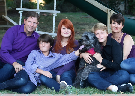 Candidate Carol Normandin, far right, with her family, from left, Ken Parker, Josh, Emily and Cole Normandin-Parker and the family pet, Storm.