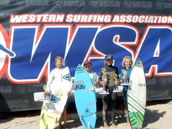 From left to right: Thurston Surf Team members - Trey Lockhart 5th place boys U14, Nolan Rodgers 4th place boys U14, Kayla Coscino 2nd place girls U14 and 3rd place girls U16