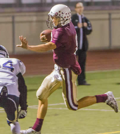 Quarterback Jake Simon ran for 75 yards on 11 carries.
