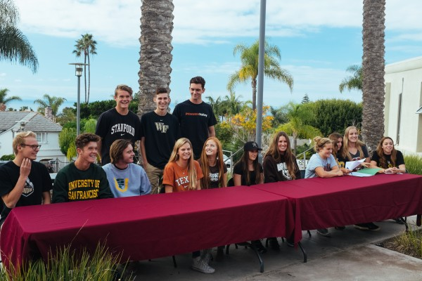 LBHS seniors signed letters of intent to continue to compete in college sports. They are, standing, from left; Pierce Ashworth, Harrison Gregory and Jack Burgi; front, Eric Juliusson, Hunter Ashworth, Evan Williams, Janie Crawford, Francie Holte, Summer Dvorak, Sabrina Stillwell, Brighid Burnes, Daniela Lucidi, Mackenzie Fischer and Taylor Julson. Photo courtesy of LBHS Athletic Department.