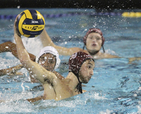 Senior Aki Andersen prepares to unload one of his three goals late in the second period of Laguna's 12-8 CIF finals win over Montebello at Woolett Aquatics Center in Irvine on Saturday, Nov. 22. Photo by Dante Fornaro.