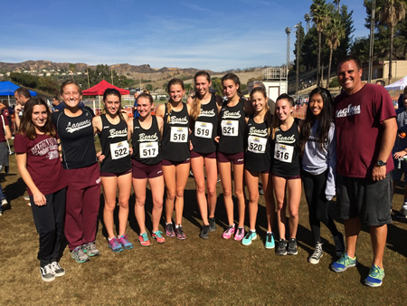 From left, Lauryn Alvarez, Annie Brown, Brenna Merchant, Pearl Shoemaker, Janie Crawford, Natalie Kimball, Kirsten Landsiedel, Grace La Montagne, Taylor Alvarez, Allison Konno with coach Steve Lalim. Most of the girls who ran in the CIF finals at Mt. SAC will go on to the state championship race, set for Saturday, Nov. 29 in Fresno.   Photo by Terri Kimball.