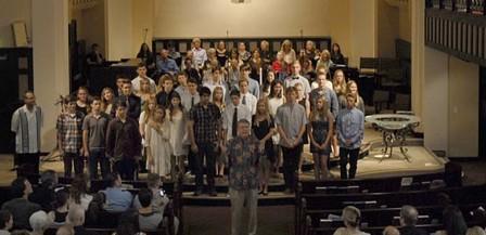 Pastor Jerry Tankersley welcomes new members to Laguna Presbyterian Church.