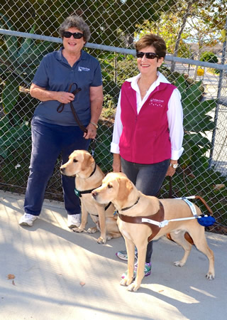 From left, VIP3 puppy raiser Carol Pukli and puppy-in-training, Moe, and guide dog team Linda Becker with Anchorage, visit El Morro.