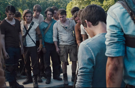 """Local Sawyer Pierce, fifth from left, in a still from the film """"Maze Runner."""""""
