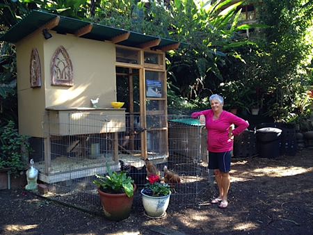 Clara Candelaria and her coop in Bluebird Canyon.