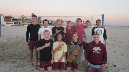 County Sand Volleyball Champs! Breakers rallied in the team finals to revenge their only season loss with a victory over Huntington Beach.  Back, from left: Jack Burgi, Adam Lythgoe, Dane Olson, Cole Paxson, Nick Rieckhoff, Tyler Jackson and Pete Obradovich; front, Liam Christiansen, Reed Donenfeld, Tyler Alter and Coach Darren Utterbac Photo by Frank Aronoff