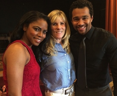 "Writer-producer Kendall Clark, center, during a break on the set with Shanica Knowles and Corbin Bleu, actors in ""Mega Church Murder,"" a Lifetime channel production."