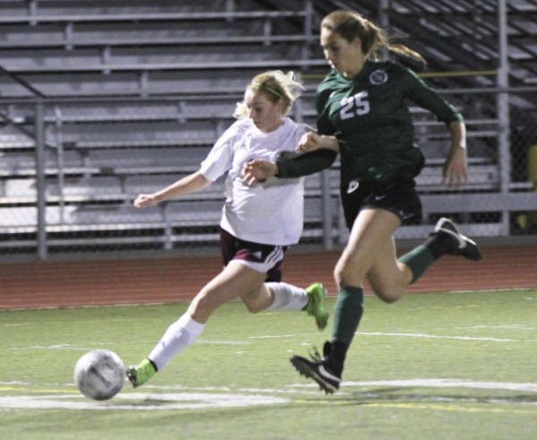 Freshman forward Renee Thomas in action against Sage Hill on Dec. 9 at Guyer Field. Credit: Dante Fornaro