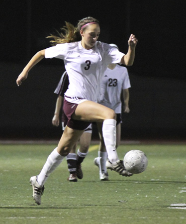 Audrey Pillsbury dribbles during Laguna's 1-1 tie against Ocean View on Thursday, Dec. 18.