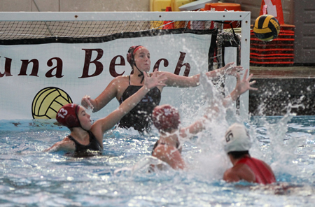 Goalie Holly Parker reaches for a shot during Laguna's 21-2 win against Riverside on Tuesday, Dec. 16 at home.