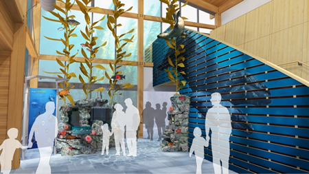 : A rendering of the Ocean Institute lobby with a demonstration kelp forest and the habitat it would support.