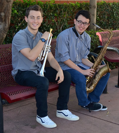 Trumpeter Aaron Alcouloumre, left, and tenor saxophone player Kenji Lee auditioned and were accepted into the Southern California all-star high school band.