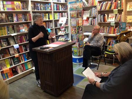 """Susan Dworkin, author of """"The Nazi Officer's Wife,"""" reads from her in-progress novel """"Landfill"""" during open mic night at Laguna Beach Books. Look for another sometime in April. Photo by Daniella Walsh"""