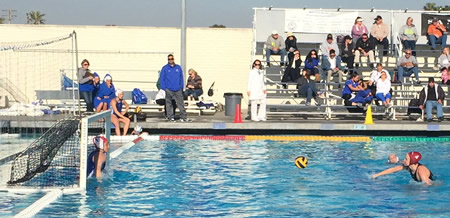 Makenzie Fischer breaks a four-year old scoring record set by Annika Dries with this penalty shot against Santa Margarita on Friday, Jan. 2. Fischer has 363 career scores through last weekend. Photos by Robert Campbell