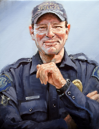 Jorg Dubin made a his portrait of Jon Coutchie a gift to the police department.