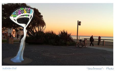 The artist's maquette is superimposed on the proposed location for the sculpture on Main Beach.