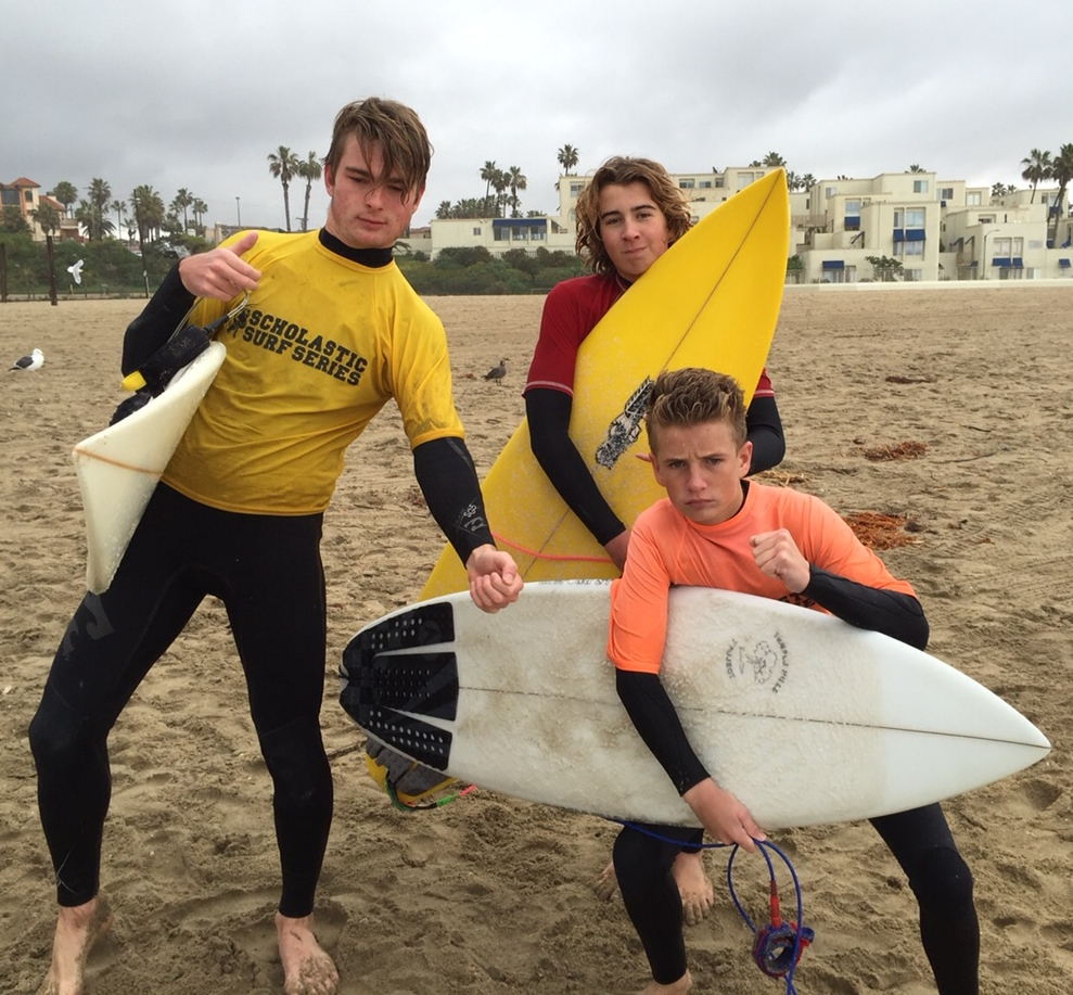 From left, LBHS surf team members Tobie Grierson, Noah North and Dylan Davis.