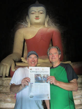 Locals and UCLA fraternity brothers Brent Liljestrom, left, and Paul Meyer, right, visit one of the 10,000 Buddhist temples in the ancient city Bagan, Myanmar. They also visited Thailand and Hong Kong during their trip in October.