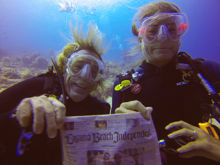 "Graham and Trish Wright scuba diving in Komodo National Park, Indonesia, in September. ""Who says the Indy can't get wet!"" he asks."