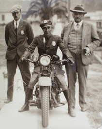 An early era motor officer in an image from the department's archives.