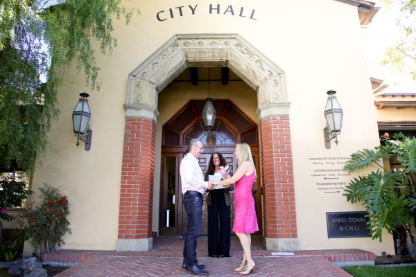 City Clerk Lisette Chel-Walker will perform the first civil wedding ceremony in Laguna Beach next week for Gustav Eriksson and Sheila Olsen.Photo by Jody Tiongco.