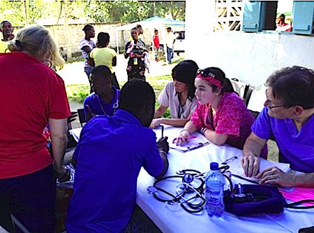 Sydney Mangus at a clinic in Haiti.