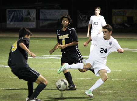 :  Freshman James Langton shows some nifty footwork during Laguna's 2-0 home loss to Godinez on Friday, Jan. 30. Photo Credit: Robert Campbell