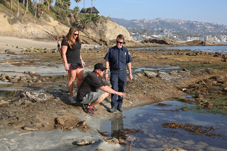 MPO Jeremy Frimond educates Mitch and Stephenie Little of Rancho Santa Fe about the local tide-pool habitat near Main Beach. Photo by Jody Tiongco.