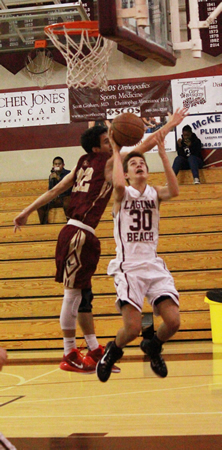 Freshman Charlie Rounaghi scored five against Estancia at home on Friday, Feb. 6. Photo Credit: Robert Campbell