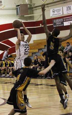Freshman Blake Burzell scored a team high 20 points in Laguna's 63-54 home loss to Godinez on Wednesday, Jan. 28. Photo Credit: Robert Campbell