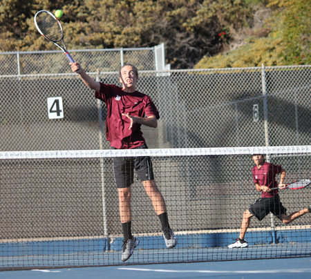Tristan Krogius at the net against Newport Harbor. Photo by Robert Campbell