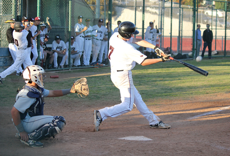 Dante Faicchio connects against Newport Harbor.