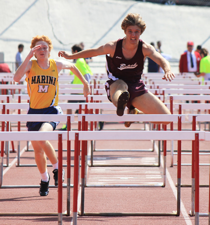 By finishing eighth in the 110m hurdles, Charles Warner scored his team's only point.