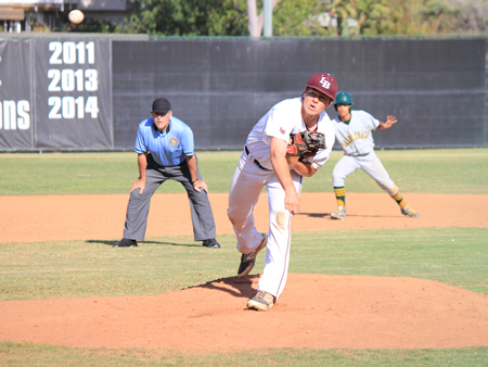 Cole Coscino entered in the fifth inning to preserve the shutout against Saddleback.