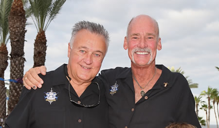 Larry Kirkenslager, left, of Huntington Beach, and Dick Gebhard, right, organizers of the Stars & Stripes benefit.