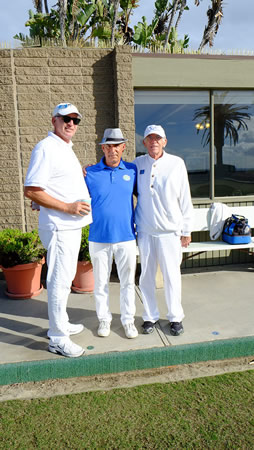 Laguna Beach Lawn Bowling Club hit the greens this past weekend. The winning team, from left, Pat Gallis, Abe Pinnella and John Carpenter. Photo by Gary Barnes.