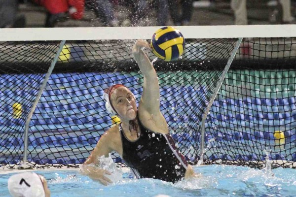 Holly Parker makes a save at the CIF final Saturday, Feb. 28, where LBHS earned its second consecutive championship in the top division. Photo by Dante Fornaro
