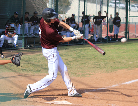Jake Smith connects for a double in the Breaker's win over Godinez at Skipper Carrillo Field on Thursday, April 2.