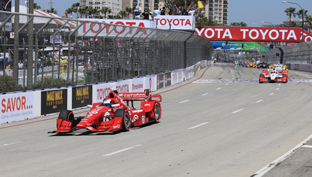 :  Scott Dixon in the Target #9 car pulls away from the field to win the 41st annual Toyota Grand Prix of Long Beach.