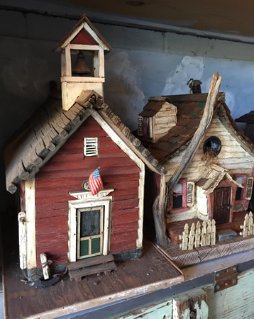 A sample of the sweet birdhouse collection seen on the garden tour.
