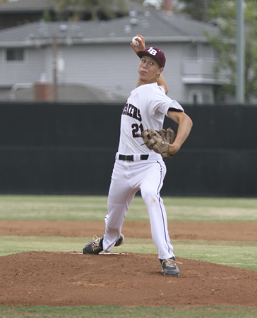 Aston Goddard pitched four innings of three-hit ball to pick up the win against Saddleback on Friday, April 24 at Skipper Carrillo Field. Photos by Dante Fornaro