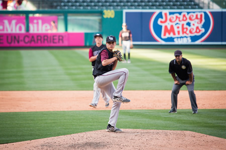 Junior John Ogden pitches at Angels Stadium during a regular season game.Photo by Anna-Marie Goddard