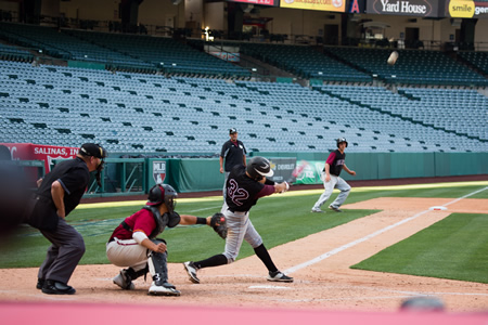 John Ogden bats at Angel Stadium this week, a rare treat for the Breakers on the big league field. Photo by Ann-Marie Goddard