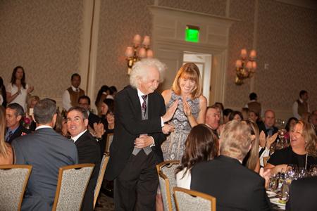 """Guest"" Albert Einstein underscores the gala's ""Stroke of Genius"" theme with Schoolpower's director, Robin Rounaghi.Photo by Blue Sky's Studio."